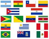 image of south american flag  - A set of South America flags over a white background - JPG