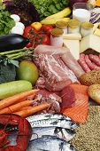 image of food groups  - Food variety grouped by typology vegetables fruit fish grain - JPG