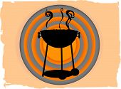 stock photo of barbecue grill  - Outline of barbecue in front of gray orange circles surround by brown rough ripped grungy boarder vector illustration - JPG