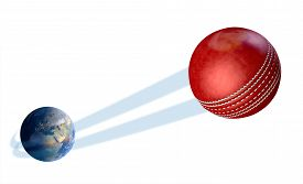 stock photo of cricket shots  - A sporting concept showing a regular red cricket ball swooshing out and above the earth onto an isolated white studio background - JPG