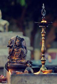 stock photo of shiva  - Diyas offered to Lord Shiva in Shivaratri or great night of Shiva at Hindu temple - JPG