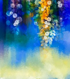 stock photo of violet flower  - Abstract flowers watercolor painting - JPG