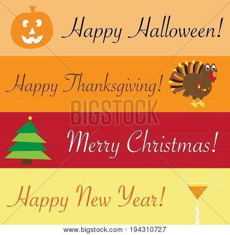 Christmas Halloween Thanksgiving.Happy Holidays Halloween Thanksgiving Christmas New Years Poster