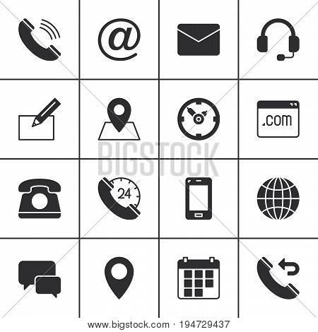 poster of Contact vector icons set modern solid symbol collection filled style pictogram pack. Signs logo illustration. Set includes icons as map globe phone call clock handset message email call back