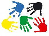 Постер, плакат: Отпечатки рук ребенка 2 5 года векторная иллюстрация