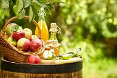 Basket of apples on background orchard standing on a barrel. Apple juice and apple preserves. poster