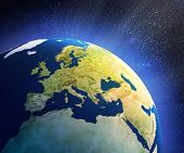 stock photo of planet earth  - planet earth in space with focus on european countries - JPG