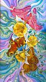 Постер, плакат: бабочки пролетел над цветки аквилегии батик