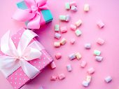 Colorful Mini Marshmallows Background, Close-up Texture. A Pile Of Different Mini White, Pink And Or poster