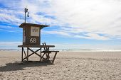 image of lifeguard  - Lifeguard tower at Newport Beach - JPG