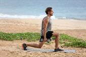 Lunge exercise fitness man training lunges exercising legs muscles with dumbbell weights. Male fitne poster