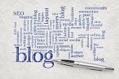 blogging and blog design word cloud - handwriting on a white textured lokta paper poster