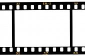 image of mm  - High resolution white background macro studio image of a 35 mm filmstrip background - JPG