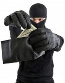 Robber  takes money from stolen wallet isolated on white background.