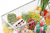 picture of grocery store  - Shopping trolley full of grocery  - JPG