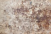 Detailed Photo Texture Of Rust Old White Painted Metal Wall. Old Metal Steel Iron Rust Texture On Ba poster