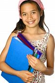 picture of school child  - Young schoolgirl of mix ethnicity holding a blue folder and files with pens and markers isolated - JPG
