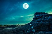 Landscape Of Rock Against Sky And Full Moon Above Wilderness Area In Forest. Cross Process. poster