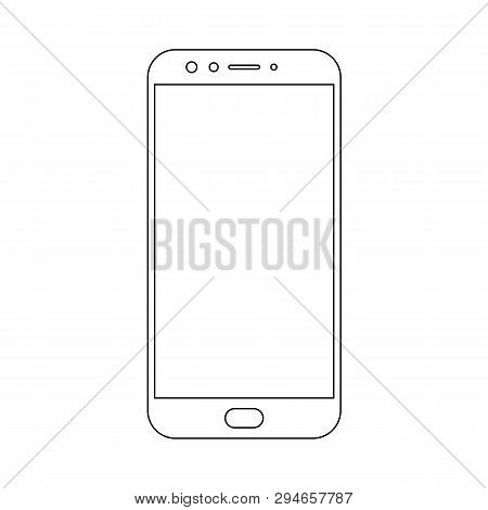 poster of Smartphone Mobile Phone Black Lins Outline With Camera, Buttons And Big Meun Button Vector Eps10. Sm