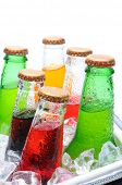 Closeup of six assorted soda bottles in an ice cooler with condensation. Vertical format over white