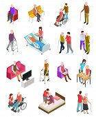 Elderly People Isometric. Senior Persons, Helper Nurse. Seniors Medical Home Therapy. People In Whee poster