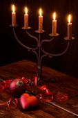 stock photo of flambeau  - Christmas Decoration with Candlelight Holder - JPG