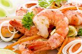 stock photo of scallop shell  - Shrimps and Mussels - JPG
