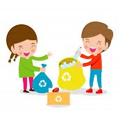 Children Collect Rubbish For Recycling, Illustration Of Kids Segregating Trash, Recycling Trash, Sav poster