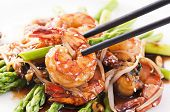 stock photo of soybean sprouts  - Prawns teriyaki with asparagus - JPG