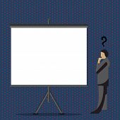 Man In Suit Standing With Question Mark Above His Head Looking At Blank Projector Board On Tripod. I poster