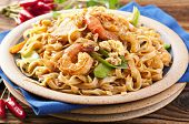 stock photo of gai  - Pad Thai with shrimps and eggs - JPG