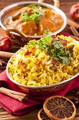 picture of biryani  - Indian meal with biryani and  curry - JPG