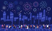 Crowd Of People Watching Fireworks Displaying In Dark Evening Sky And Celebrating Holiday Against Ci poster