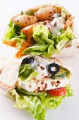 Pita stuffed with Feta and prawns