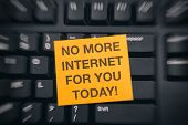 No More Internet For You Today! Yellow Paper Note On Black Keyboard With Writing No More Internet Fo poster