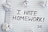 I Hate Homework. Phrase I Hate Homework On Notebook Sheet With Some Crumpled Paper Balls On It. Clos poster