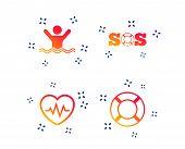Sos Lifebuoy Icon. Heartbeat Cardiogram Symbol. Swimming Sign. Man Drowns. Random Dynamic Shapes. Gr poster