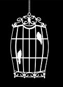 Постер, плакат: Иллюстрация с птицы в клетке изолированные на черном фоне