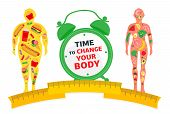 Weight Loss Concept. Time To Change Your Body. Before And After Diet And Fitness. Fat And Thin Man.  poster
