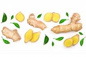 Fresh Ginger Root And Slice Isolated On White Background With Copy Space For Your Text. Top View. Fl poster