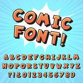Retro Comic Book Font. Super Hero Comics Letters, Vintage Cartoon Heroes Fonts And Pop Art Comics Al poster
