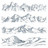 Mountains Landscape Engraving. Vintage Hand Drawn Sketch Of Hiking Or Climbing On Mountain. Nature H poster