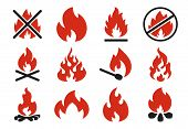 Burn Fire Icon. Burning Flame Fireball Silhouette Or Danger Bonfire. Flaming Explosion Flat Illustra poster