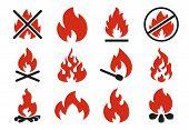 Burn Fire Icon. Burning Flame Fireball Silhouette Or Danger Bonfire. Flaming Explosion Flat Illustra poster