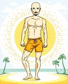 Handsome Bald Man With Stylish Beard And Whiskers Posing On Tropical Beach In Colorful Shorts. Vecto poster