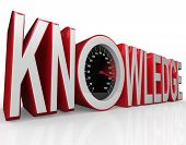 The word Knowledge with a speedometer in it symbolizing the fact that learning and gathering informa