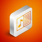 Isometric Music Book With Note Icon Isolated On Orange Background. Music Sheet With Note Stave. Note poster