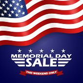 Memorial Day Sale Background With Usa Flag And Lettering. Template For Memorial Day Banner Design. V poster