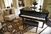 stock photo of grand piano  - Grand piano in a modern luxury home - JPG