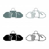 Hand Passes The Package To The Other Hand Hand Pass Bag Other Hand Concept Commerce Idea Trade Marke poster